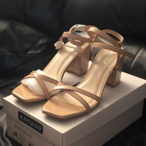 BAMBOO strappy nude block heel size 8.5